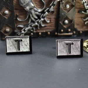 """Swank Initial Letter """"T"""" Cufflinks"""
